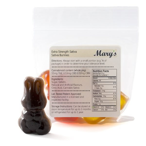Marys Edibles Sativa Gummies Extra Strength 55MG Back