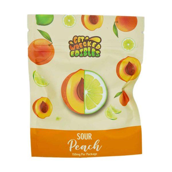 Buy Get Wrecked Edibles - Sour Peach Gummies 150mg THC at MMJ Express Online Shop