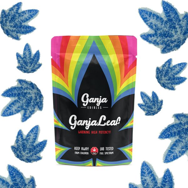 Buy Ganja Edibles - Ganja Leaf Sour Blue Raspberry 1250mg THC at MMJ Express Online Shop