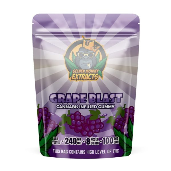 Buy Golden Monkey Extracts - Grape Blast Gummy 240mg THC : 100mg CBD at MMJ Express Online Shop