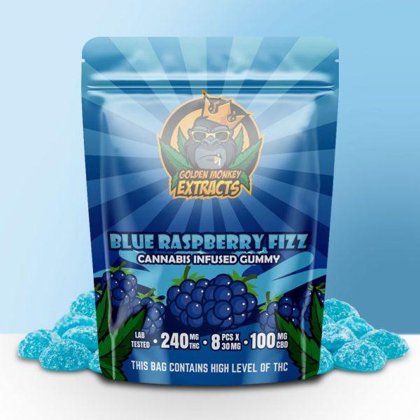 Buy Golden Monkey Extracts - Blue Raspberry Fizz Gummy 240mg THC : 100mg CBD at MMJ Express Online Shop