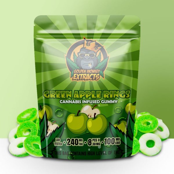Buy Golden Monkey Extracts - Green Apple Rings Gummy 240mg THC : 100mg CBD at MMJ Express Online Shop