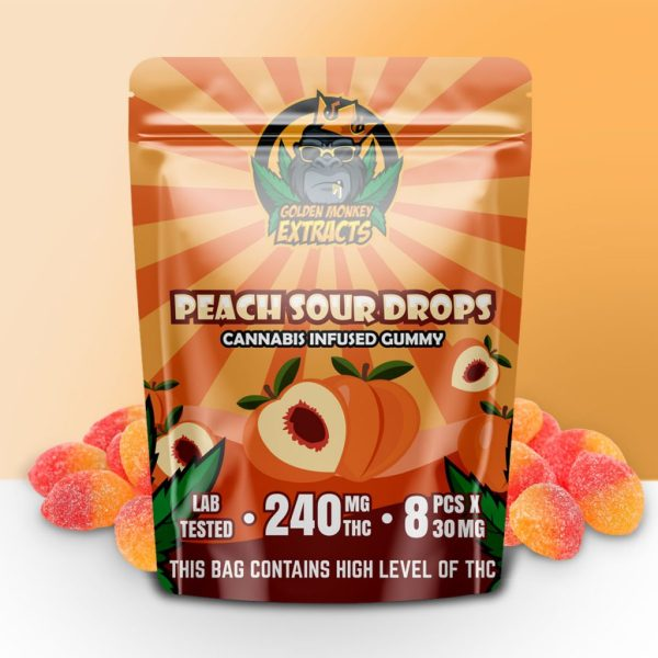 Buy Golden Monkey Extracts - Peach Sour Drop Gummy 240mg THC at MMJ Express Online Shop