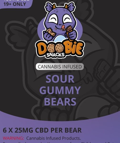 Buy Doobie Snacks - Sour Gummy Bears 150mg CBD at MMJExpress Online Dispensary